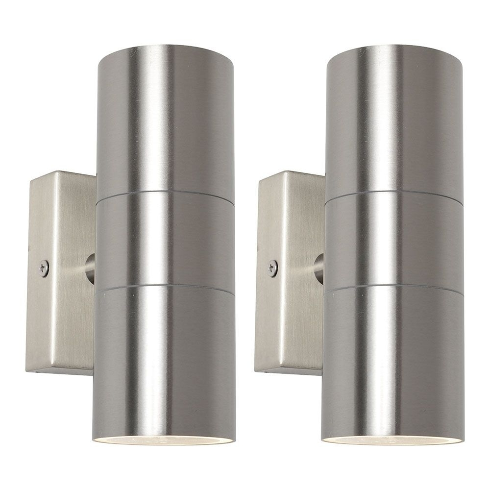 2 Pack Of Kenn Up & Down Light Outdoor Wall Light – Satin Chrome Regarding Well Known Outside Wall Down Lights (View 2 of 20)