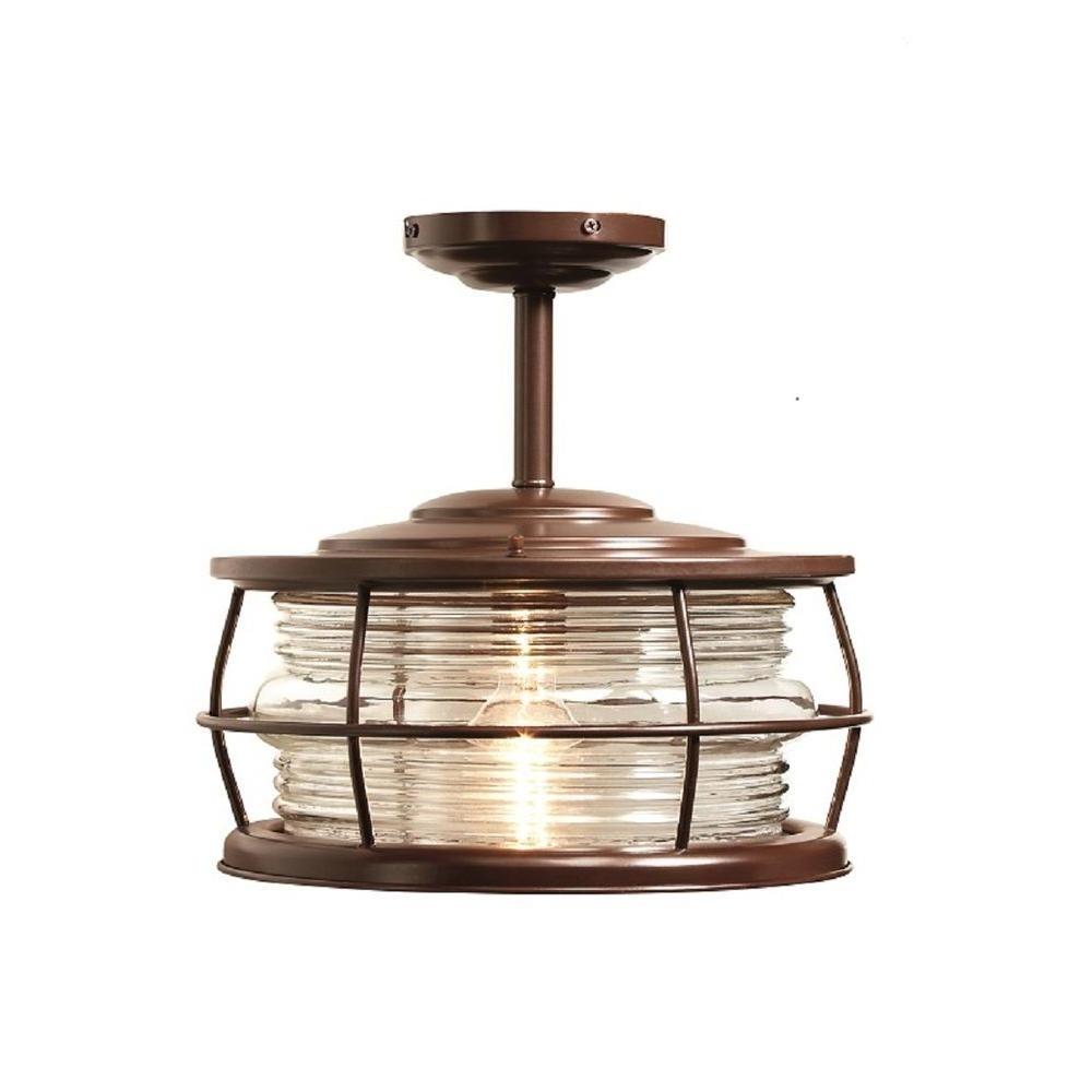 2018 Hampton Bay Harbor 12 In. 1 Light Copper Outdoor Convertible Hanging With Regard To Hampton Bay Outdoor Ceiling Lights (Gallery 13 of 20)