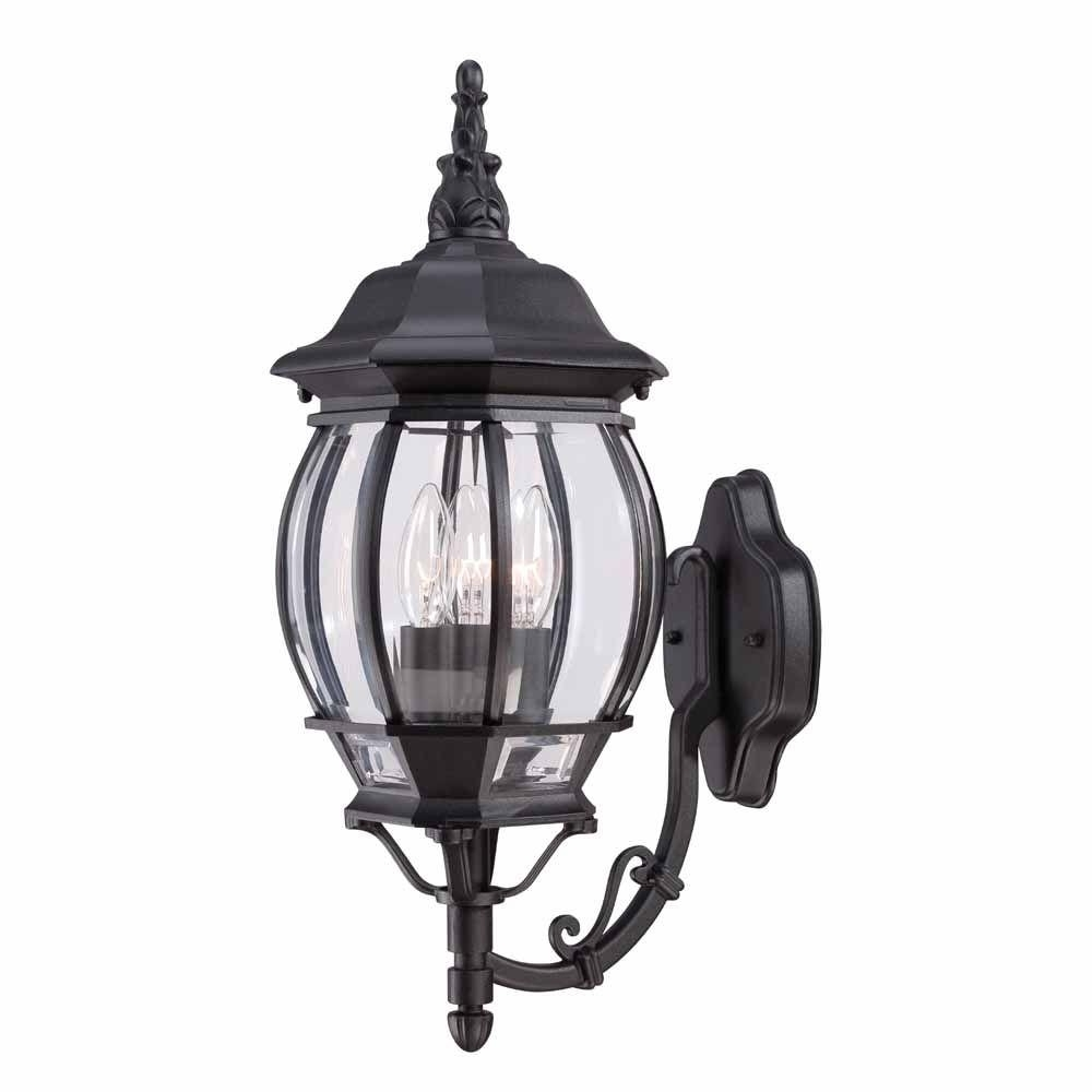 2018 Hampton Bay Outdoor Ceiling Lights Throughout Hampton Bay 3 Light Black Outdoor Wall Mount Lantern Hb7028 05 – The (View 19 of 20)