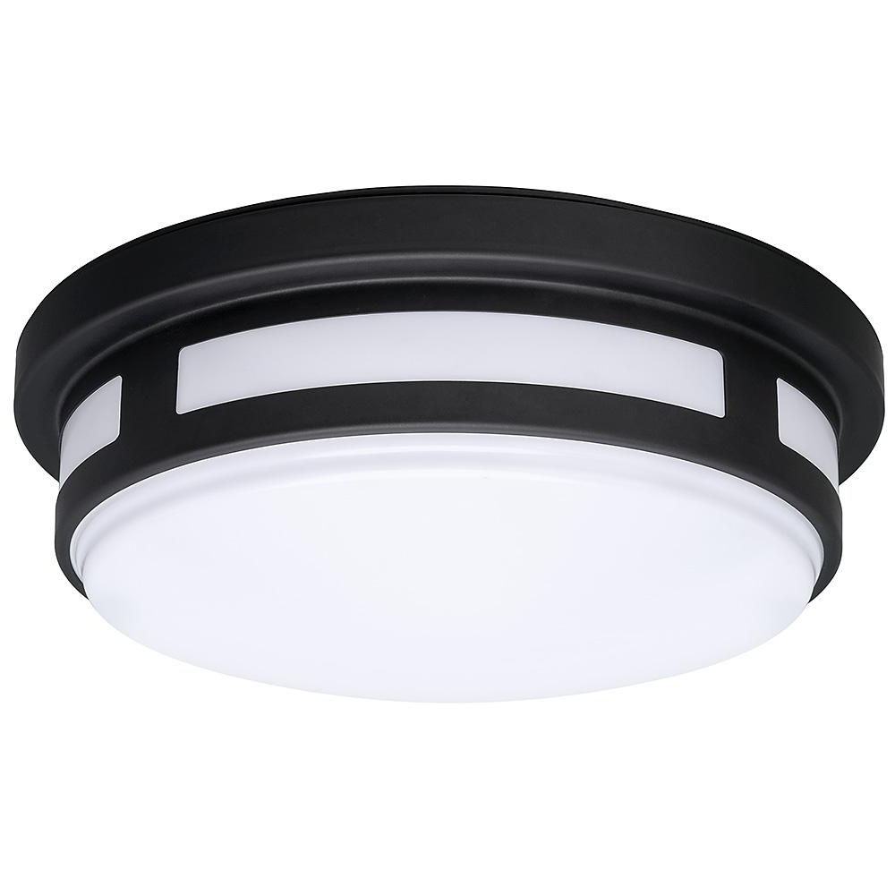 2018 Hampton Bay Outdoor Ceiling Lights Within Hampton Bay 11 In. Round Black Integrated Led Outdoor Flush Mount (Gallery 10 of 20)