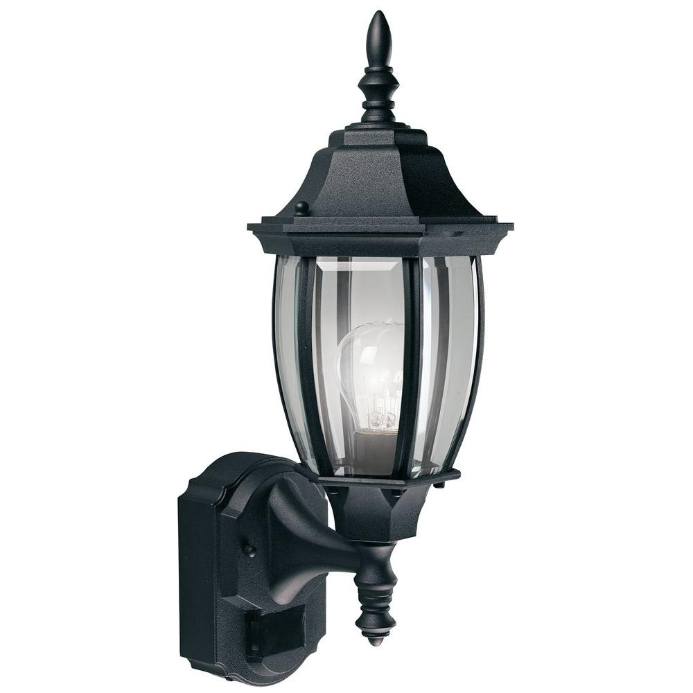 2018 Heath Zenith 180 Degree Black Alexandria Lantern With Curved Beveled With Regard To Heath Zenith Outdoor Wall Lighting (View 1 of 20)