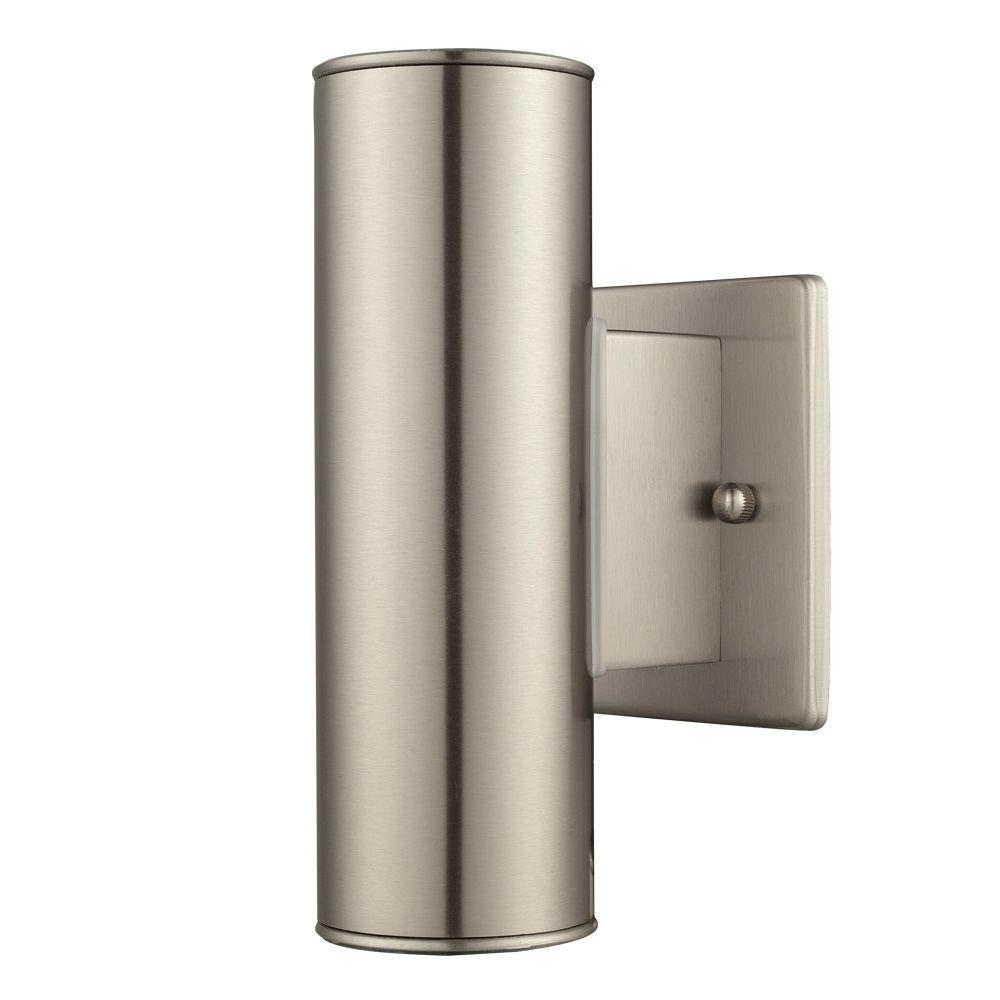 2018 Home Decorators Collection Riga 2 Light Stainless Steel Outdoor Within Stainless Steel Outdoor Wall Lights (View 7 of 20)