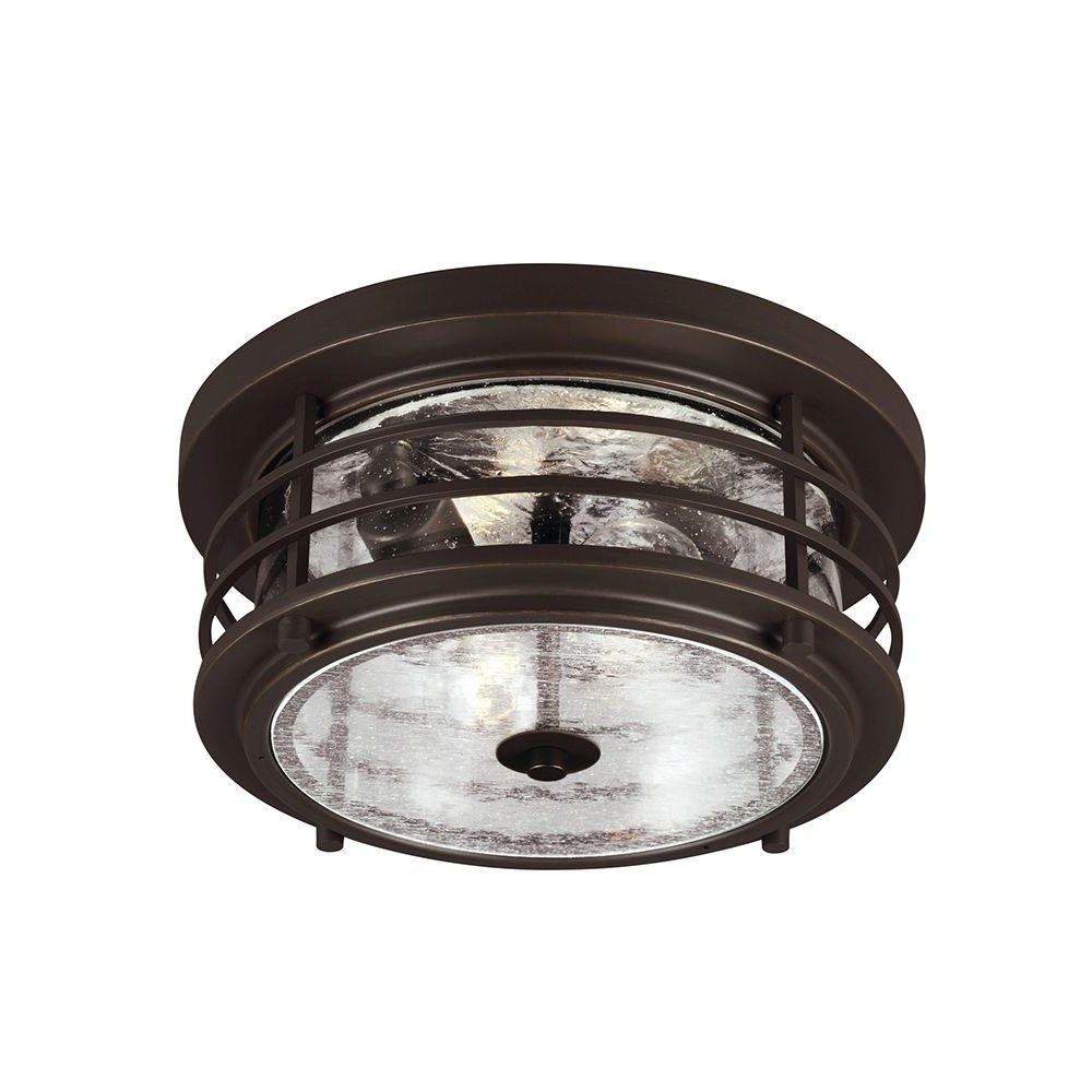 2018 Outdoor Ceiling Lights At Home Depot Inside Sea Gull Lighting Sauganash 2 Light Outdoor Antique Bronze Ceiling (Gallery 8 of 20)