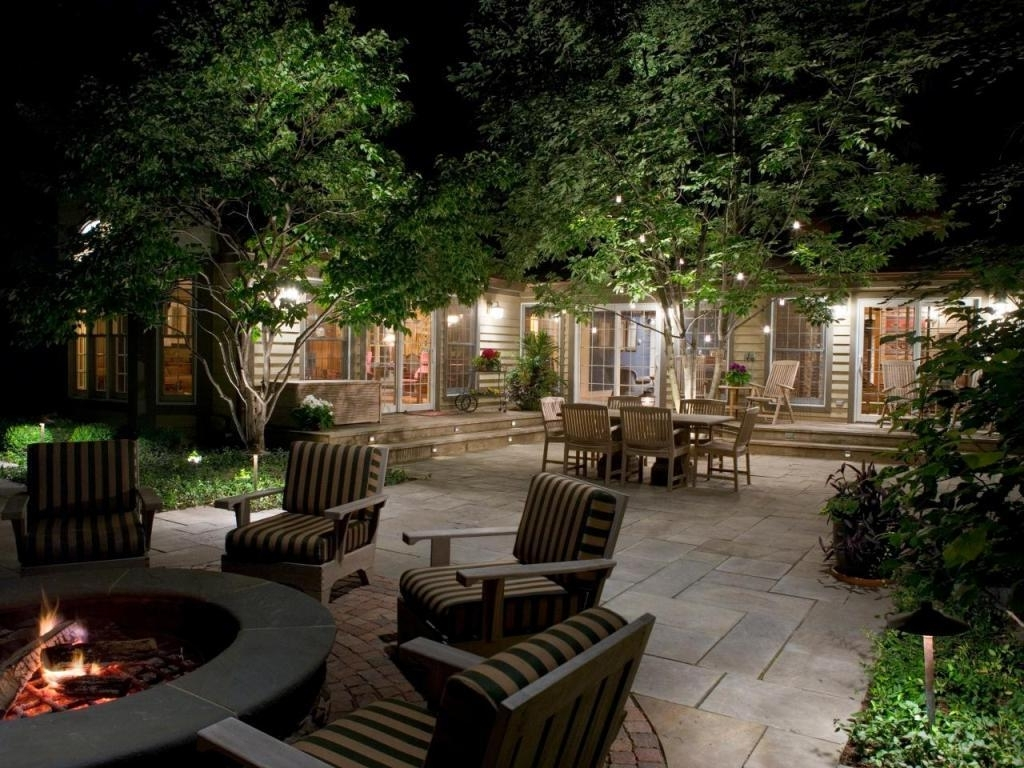 2018 Outdoor Hanging Lights With Comfortable Chairs And Round Fire Pit Throughout Hanging Outdoor Lights In Backyard (View 3 of 20)