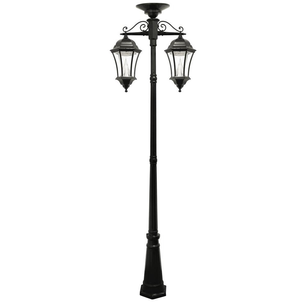 2018 Outdoor Hanging Post Lights In Gama Sonic Victorian Series 2 Head Downward Hanging Black Integrated (View 5 of 20)