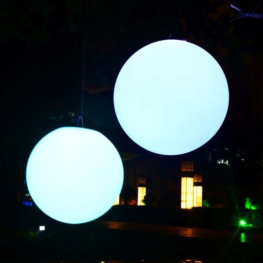 2018 Outdoor Hanging Sphere Lights Inside Large Waterproof Garden Sphere, 40Cm Floating Ball (Gallery 2 of 20)