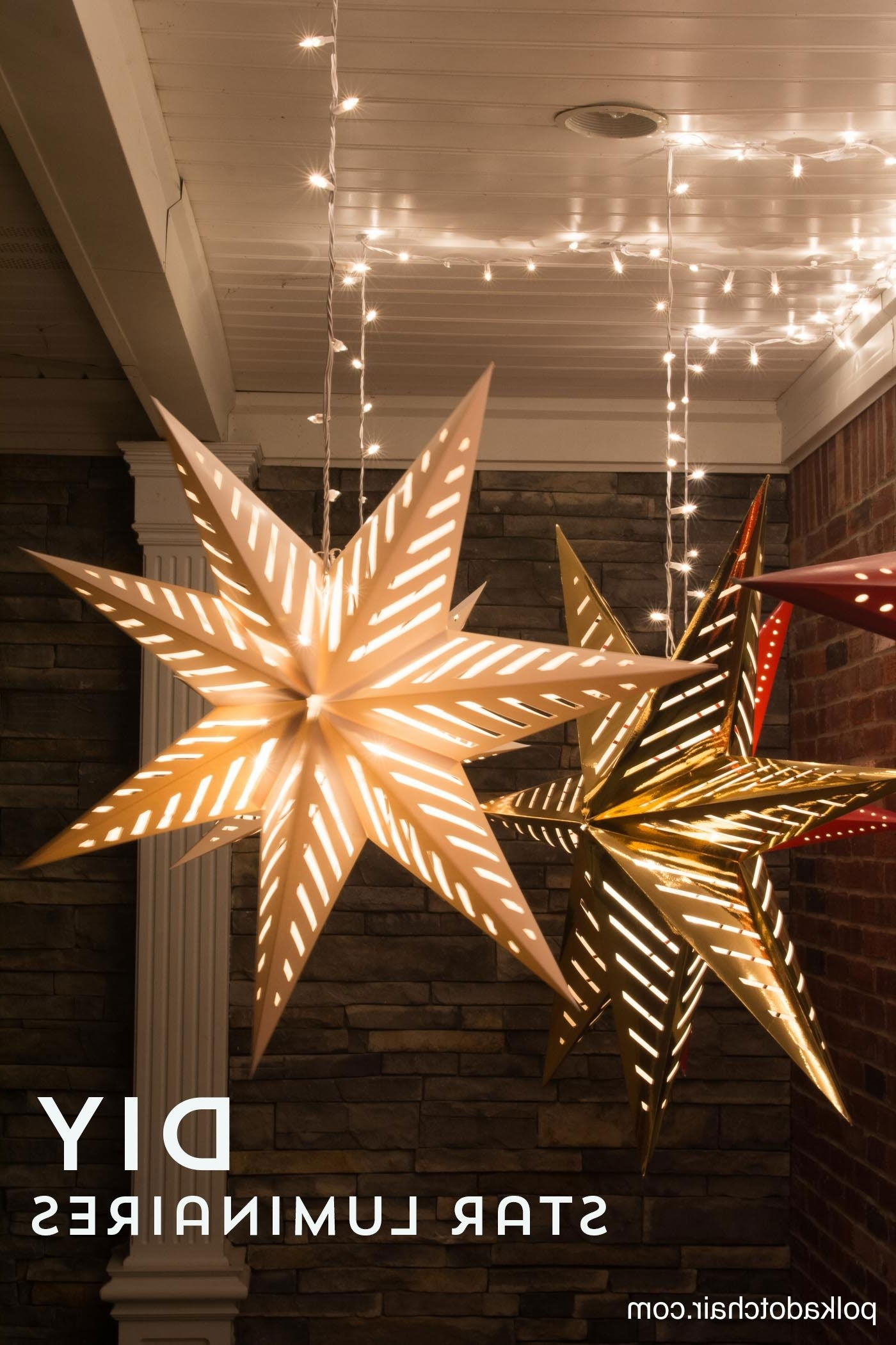 2018 Outdoor Hanging Star Lanterns In Hanging Star Lanterns; A Christmas Front Porch Decorating Idea (View 1 of 20)