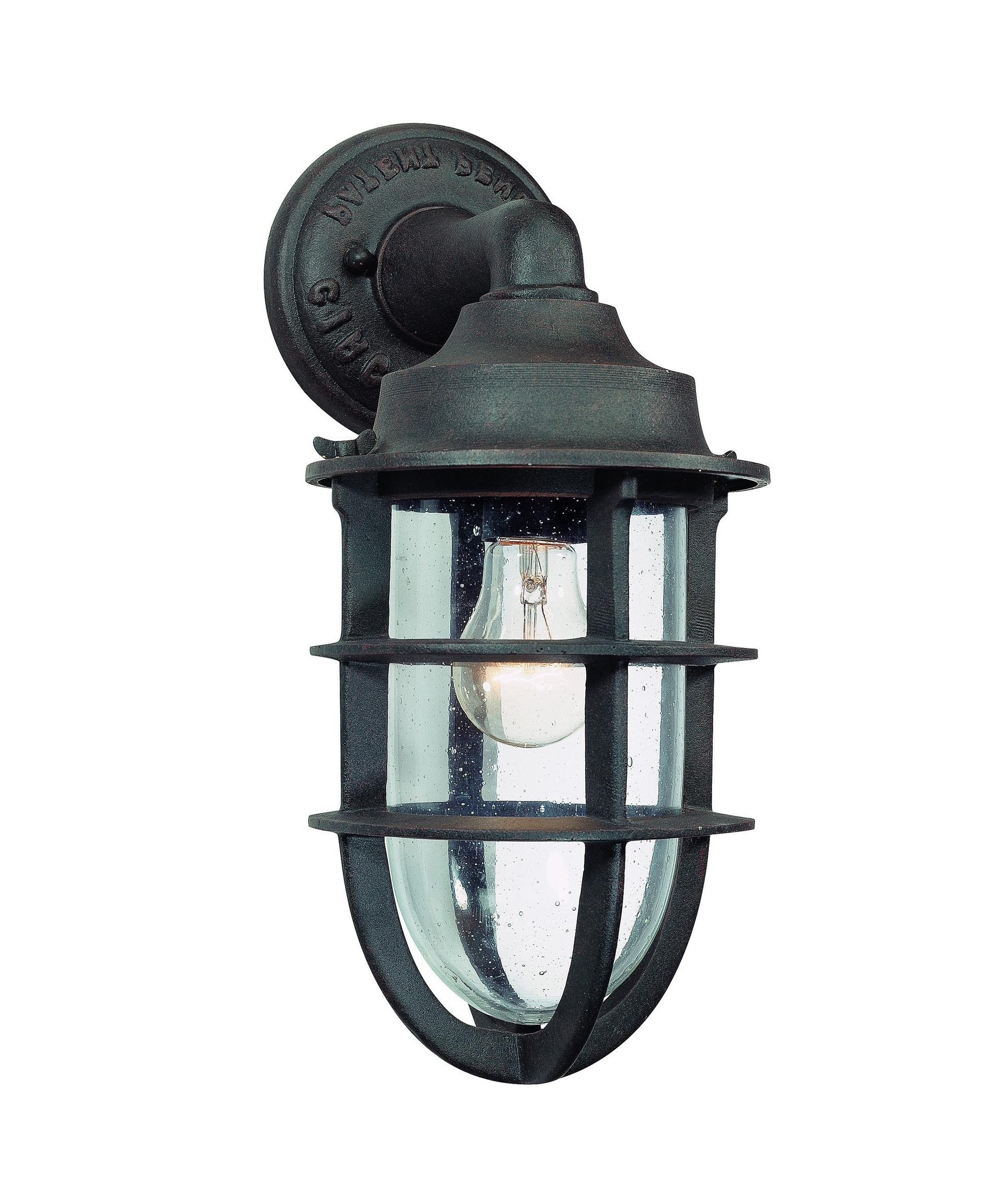 2018 Troy Lighting B1866 Wilmington 7 Inch Wide 1 Light Outdoor Wall Within Outdoor Wall Lighting With Seeded Glass (Gallery 12 of 20)