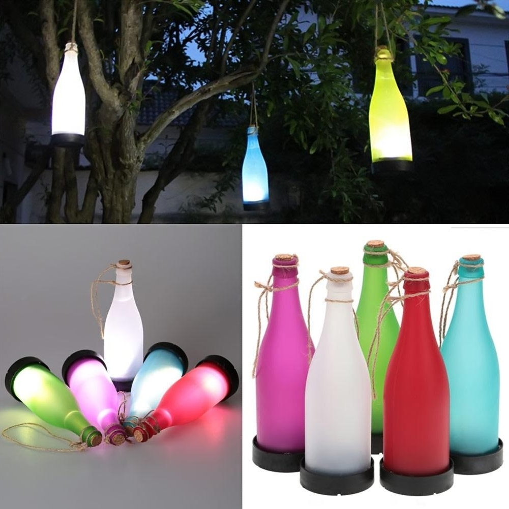 2018 Wholesale /sets Cork Wine Bottle Led Solar Powered Sense Light Pertaining To Favorite Outdoor Hanging Bottle Lights (Gallery 8 of 20)