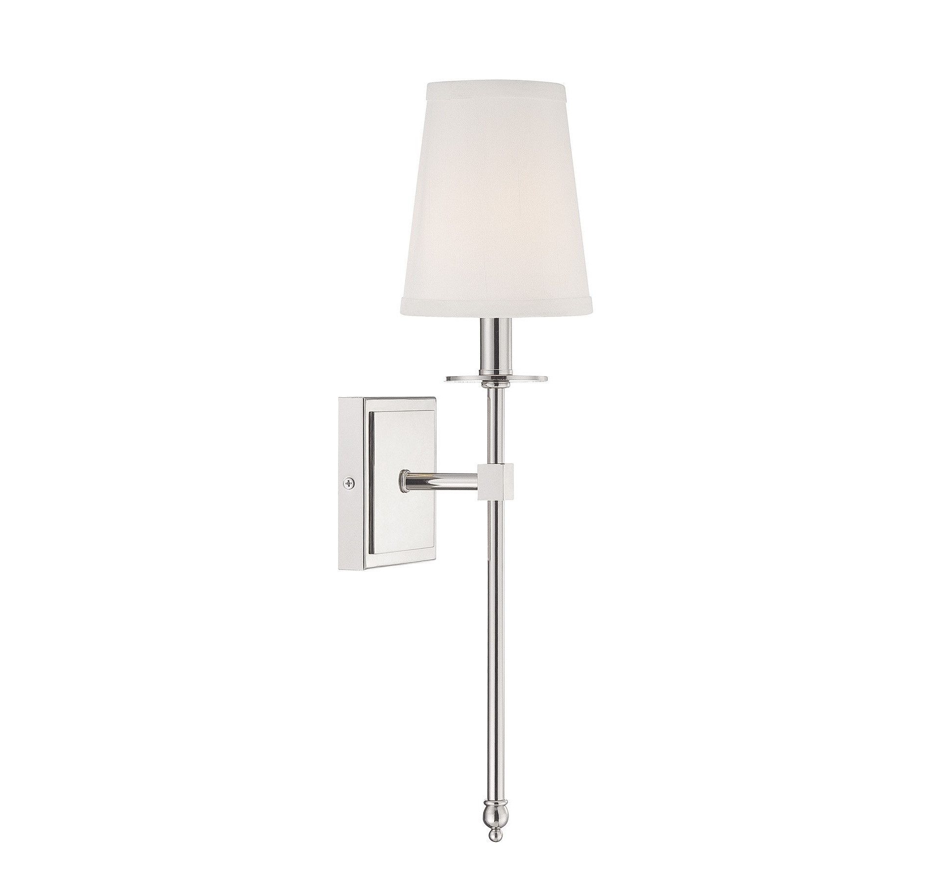 2019 1 Light Monroe Wall Sconce In Polished Nickel With Soft Fabric White Throughout Nickel Polished Outdoor Wall Lighting (View 3 of 20)
