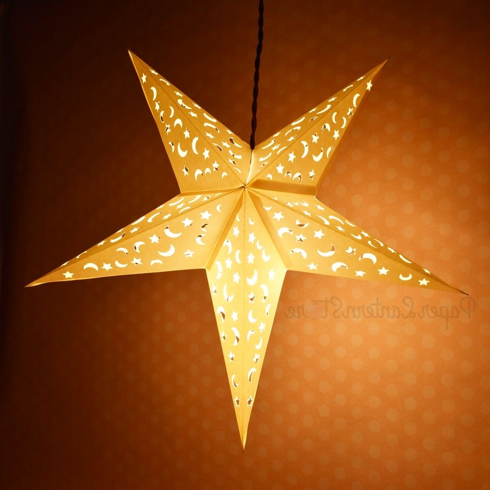 "2019 24"" White Star Moon Cut Out Paper Star Lantern, Hanging Decoration Within Outdoor Hanging Star Lanterns (Gallery 16 of 20)"