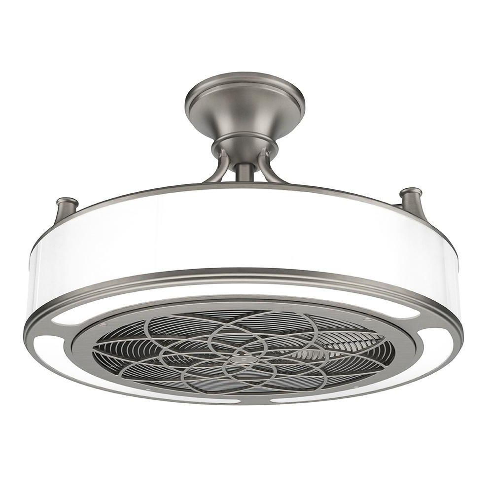 2019 Anderson 22 In. Led Indoor/outdoor Brushed Nickel Ceiling Fan With Intended For Outdoor Ceiling Fans With Lights At Home Depot (Gallery 15 of 20)
