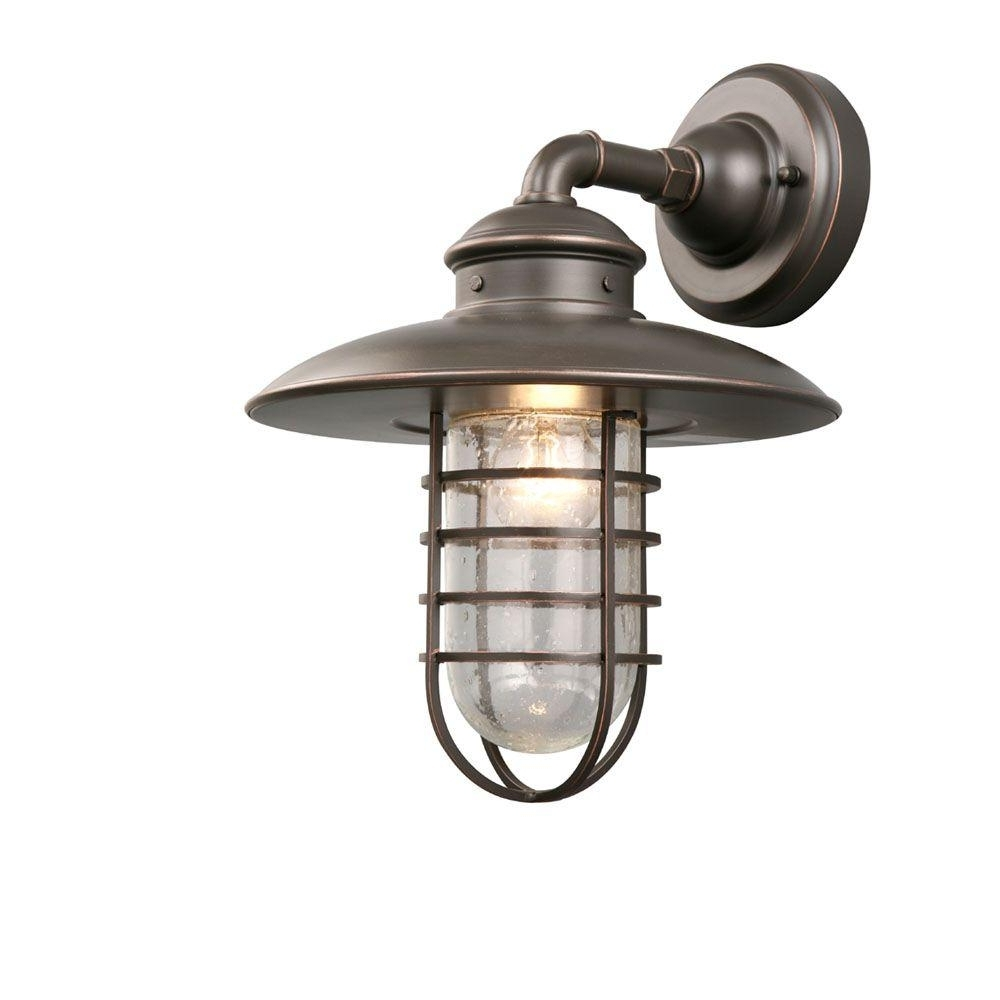 2019 Beach Outdoor Wall Lighting Inside Hampton Bay 1 Light Oil Rubbed Bronze Outdoor Wall Lantern Dyx1691a (View 6 of 20)