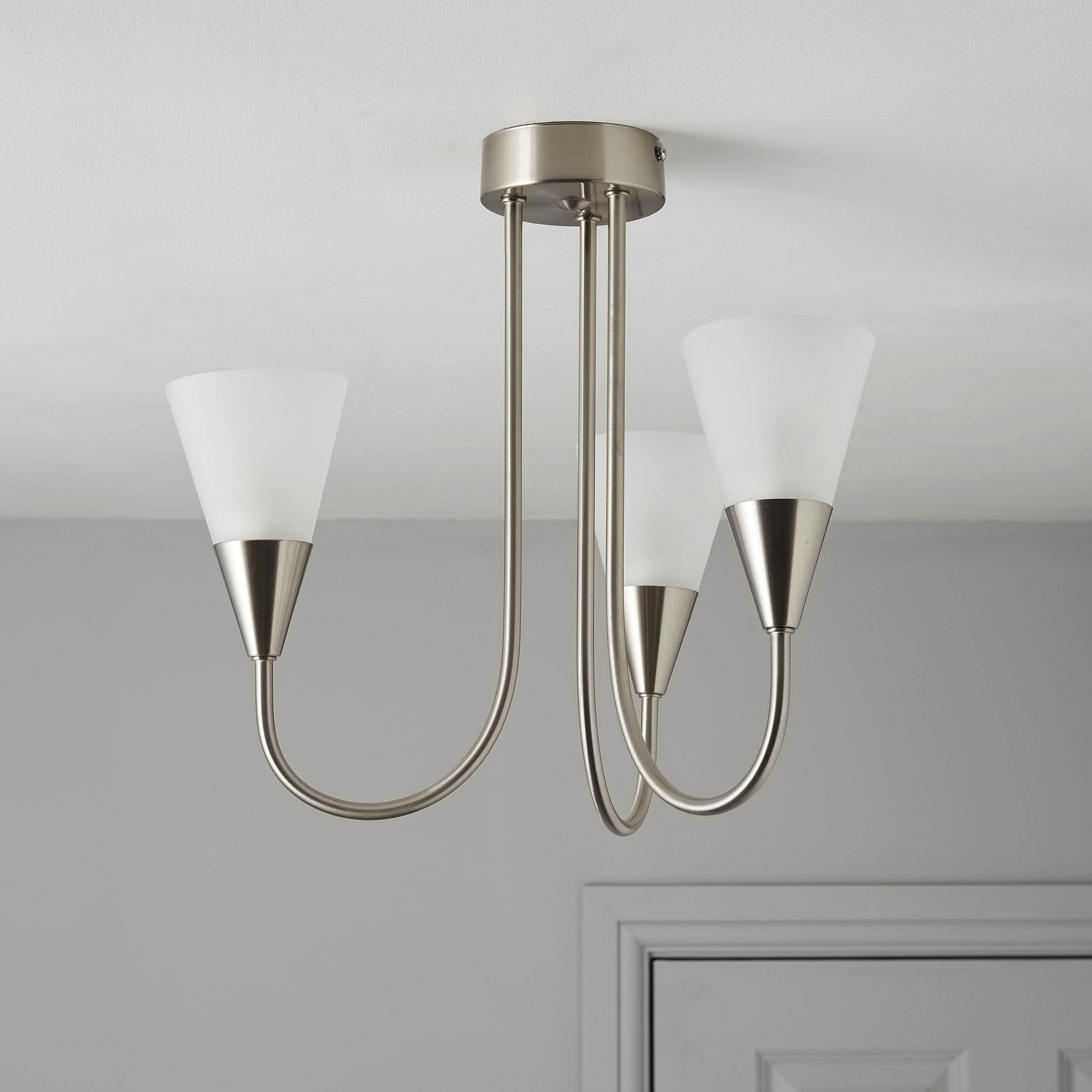 2019 Ceiling Light Fittings B&q #2 Reya Nickel Effect 3 Lamp Pendant Regarding Outdoor Ceiling Lights At B&q (Gallery 18 of 20)