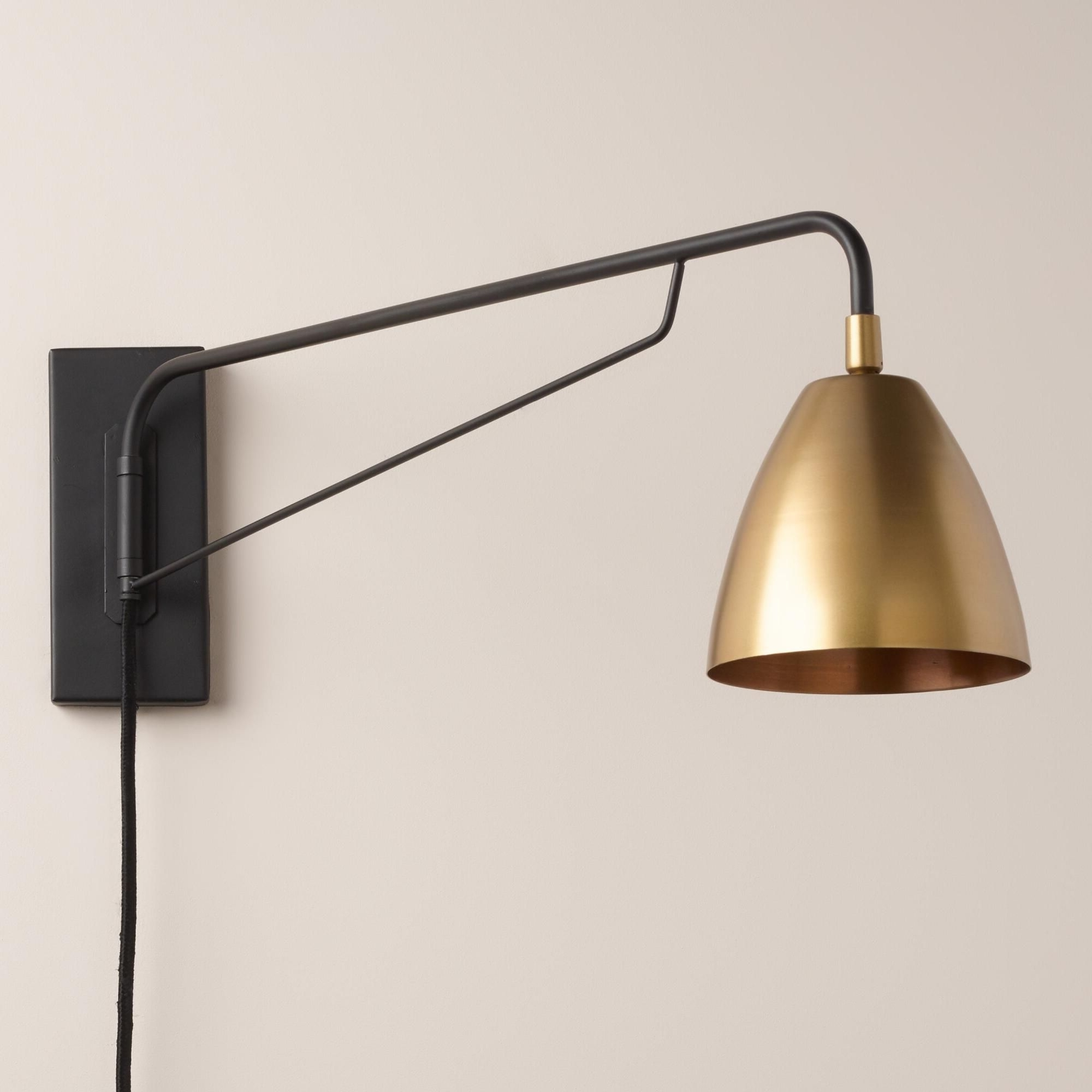 2019 Crafted With A Pivoting Arm And Adjustable Antique Brass Shade With Regard To Outdoor Wall Lights With Plug (View 1 of 20)
