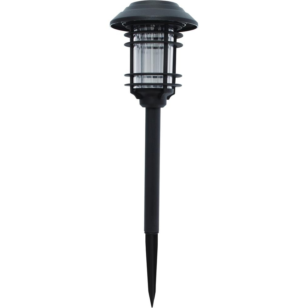 2019 Garden Porch Light Fixtures At Home Depot Pertaining To Hampton Bay Solar Black Outdoor Integrated Led Landscape Path Light (View 20 of 20)