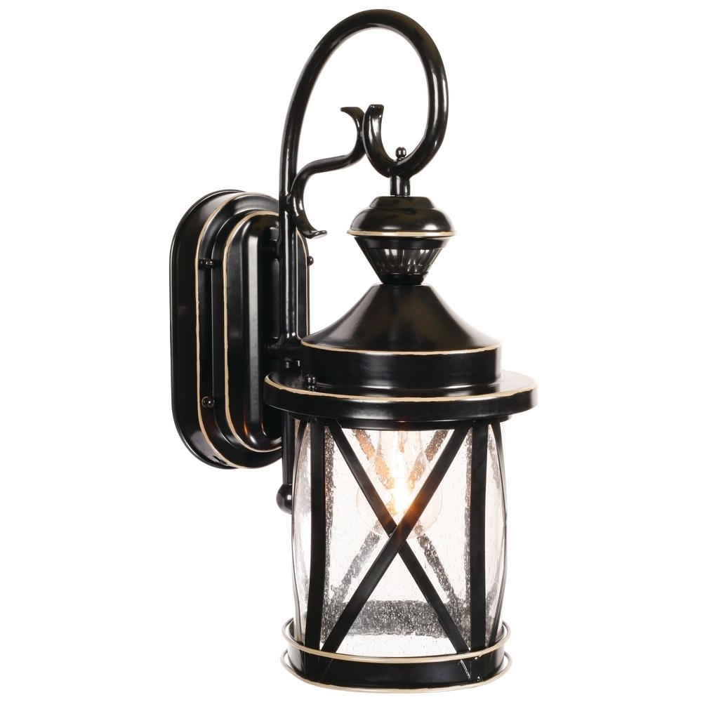 2019 Heath Zenith Outdoor Wall Lighting In Heath Zenith 1 Light Satin Black Motion Activated Outdoor Wall Mount (View 3 of 20)