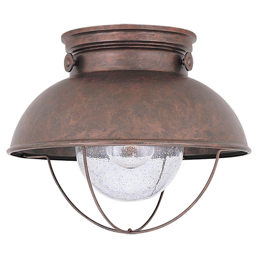 2019 Outdoor Ceiling Led Lights Within Sea Gull Lighting Sebring 1 Light Black Outdoor Flush Mount 8869 (View 15 of 20)