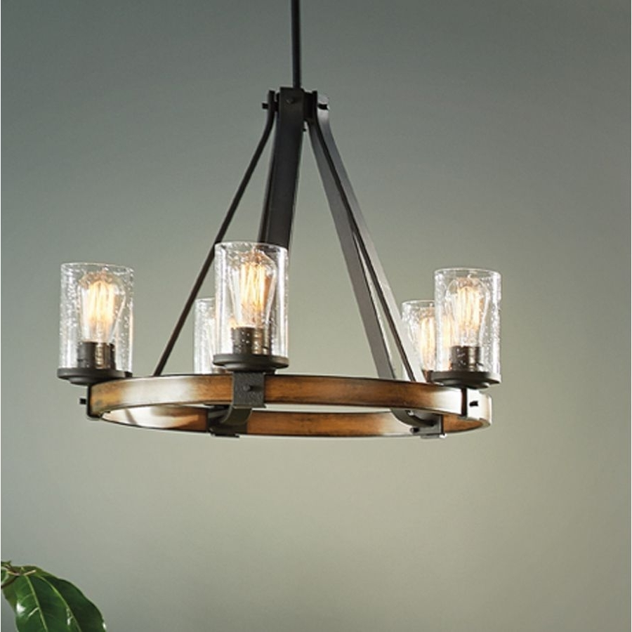 2019 Outdoor Chandelier Kichler Lighting In Shop Kichler Lighting Barrington 3 Light Distressed Black And Wood (View 1 of 20)