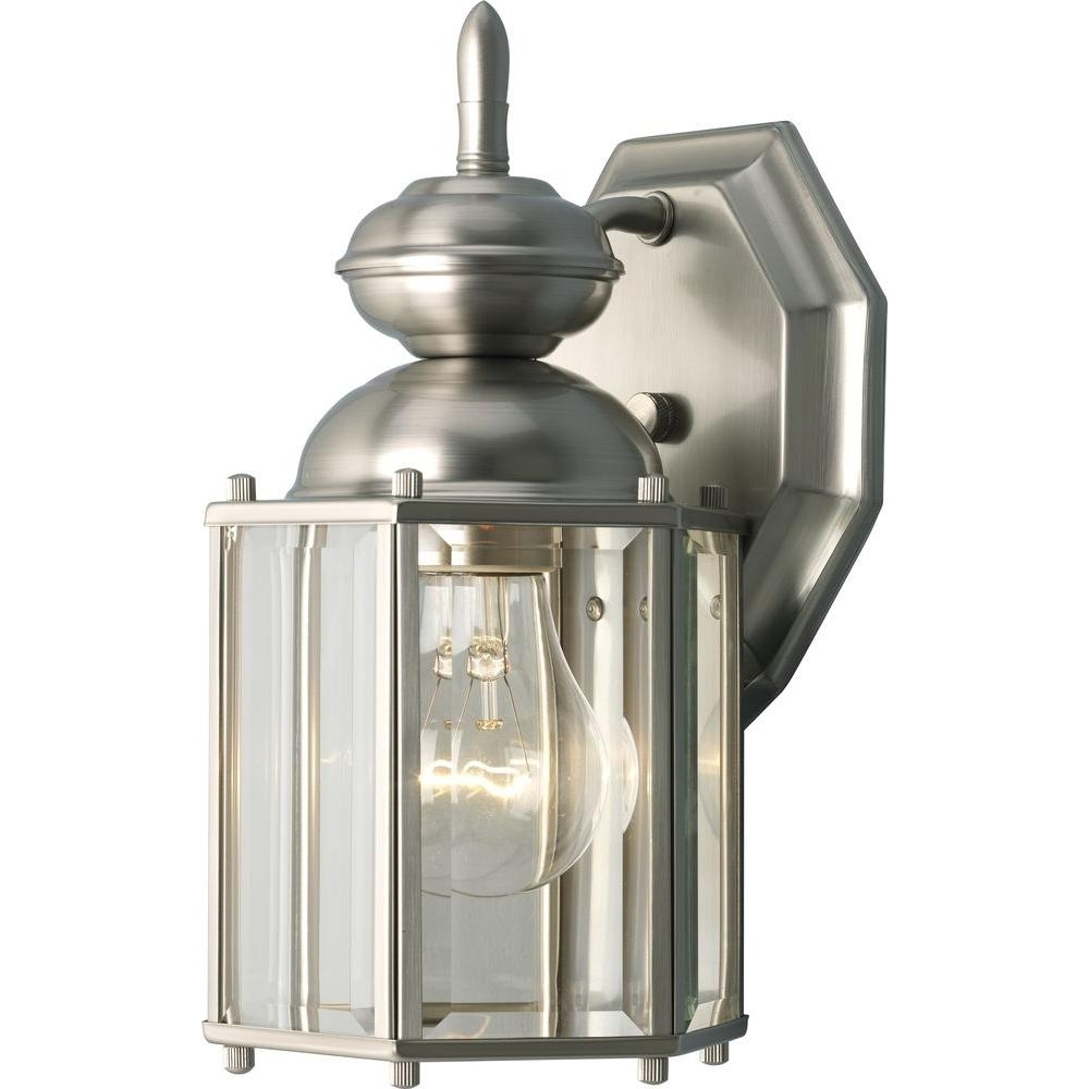 2019 Outdoor Wall Lighting At Home Depot With Regard To Progress Lighting Brassguard Collection 1 Light Outdoor Brushed (View 2 of 20)