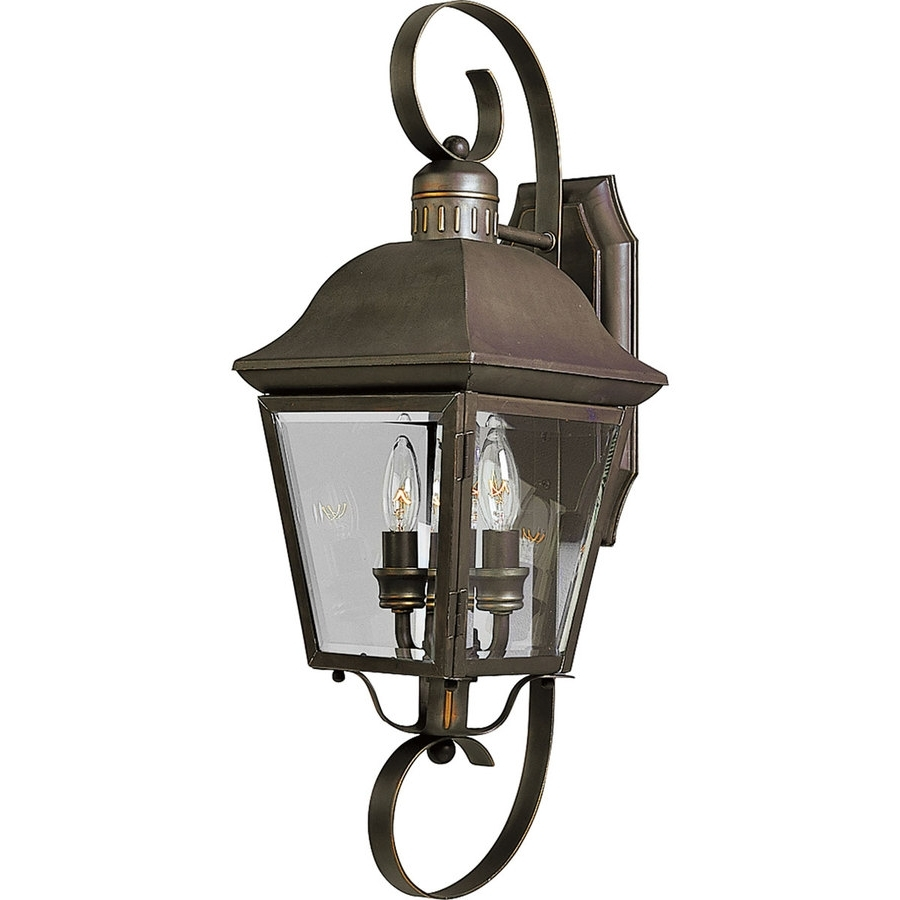 2019 Outdoor Wall Lighting At Lowes With Regard To Shop Progress Lighting Andover 21.25 In H Antique Bronze Outdoor (Gallery 7 of 20)