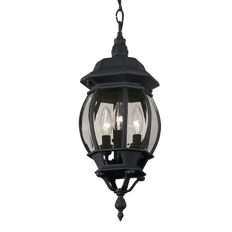 2019 Shop Portfolio 8.43 In Black Multi Light Clear Glass Globe Within Outdoor Hanging Light In Black (Gallery 5 of 20)