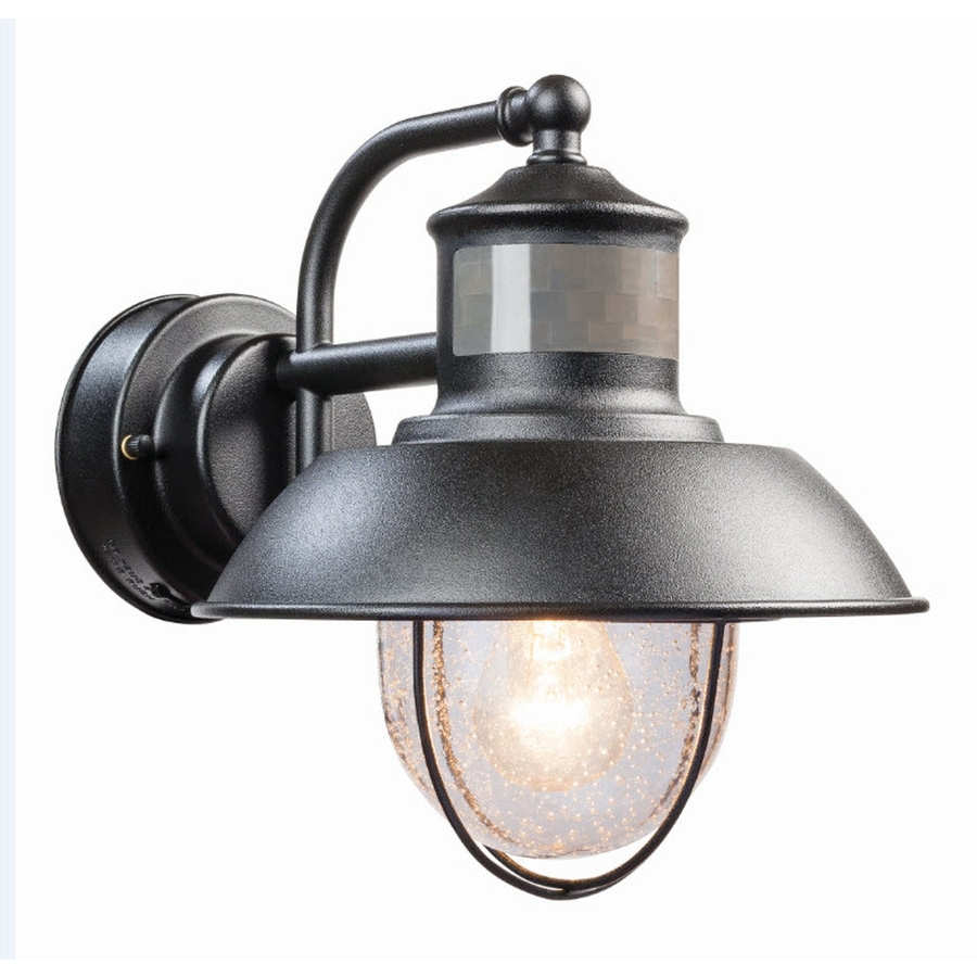 2019 Shop Secure Home Nautical 9.4 In H Matte Black Motion Activated In Outdoor Wall Light Fixtures At Lowes (Gallery 12 of 20)