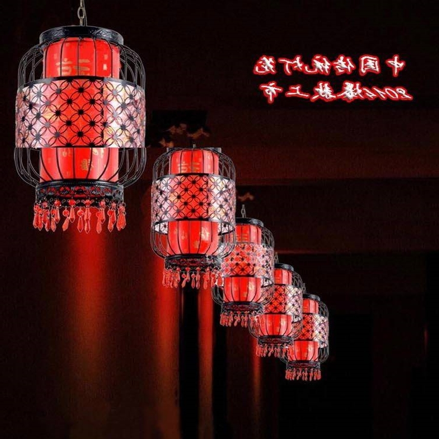2019 Waterproof Outdoor Balcony Red Lanterns Villa Hotel New Chinese Intended For Outdoor Hanging Chinese Lanterns (View 1 of 20)
