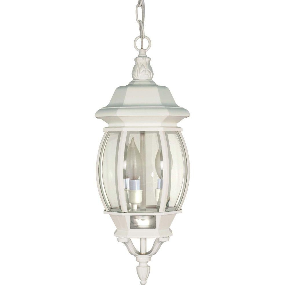 2019 White Outdoor Hanging Lanterns Within Glomar 3 Light Outdoor White Hanging Lantern With Clear Beveled (Gallery 3 of 20)