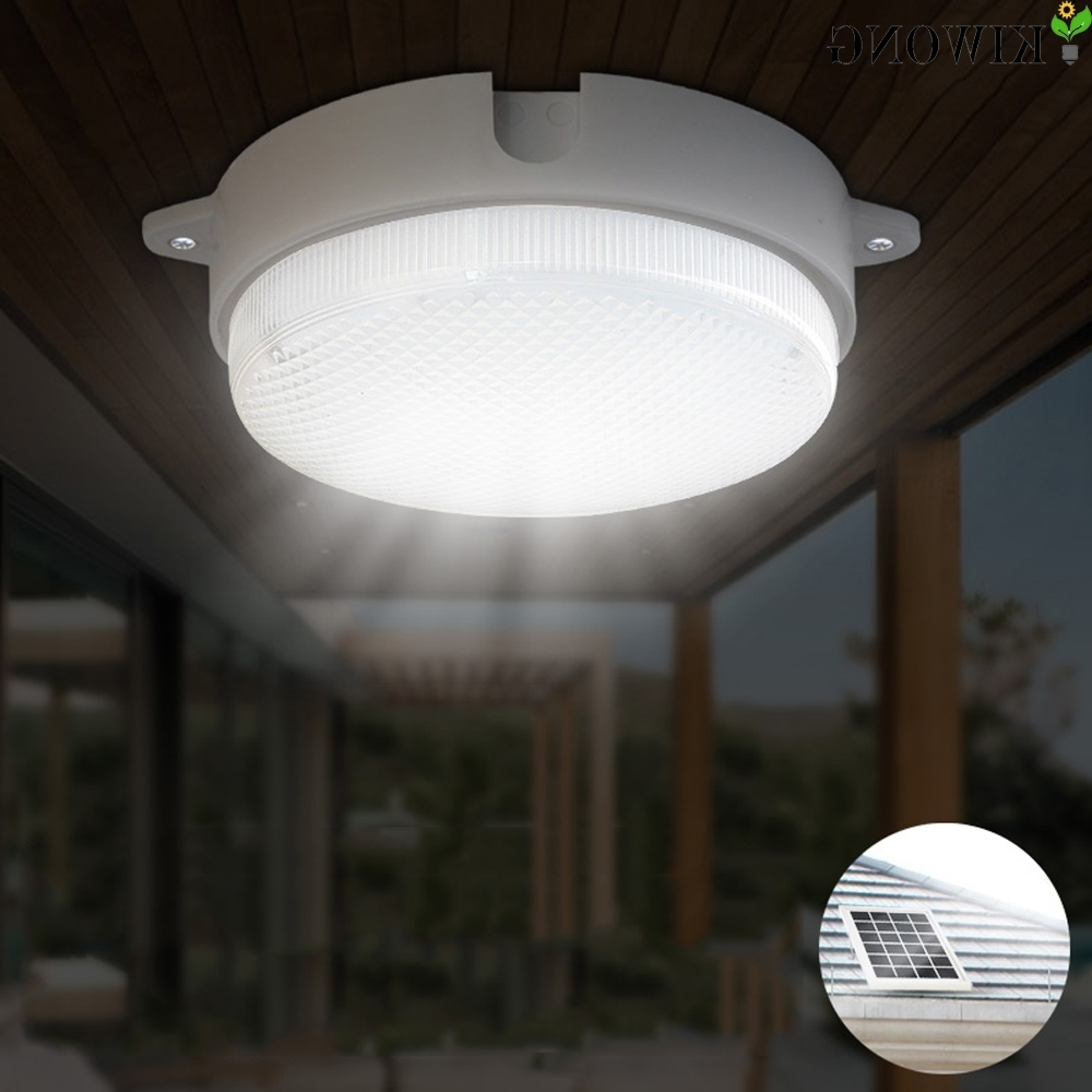 4W Round Solar Light Outdoor Led Ceiling Lamp Garden Street Lights 9 Throughout Well Liked Round Outdoor Ceiling Lights (View 4 of 20)