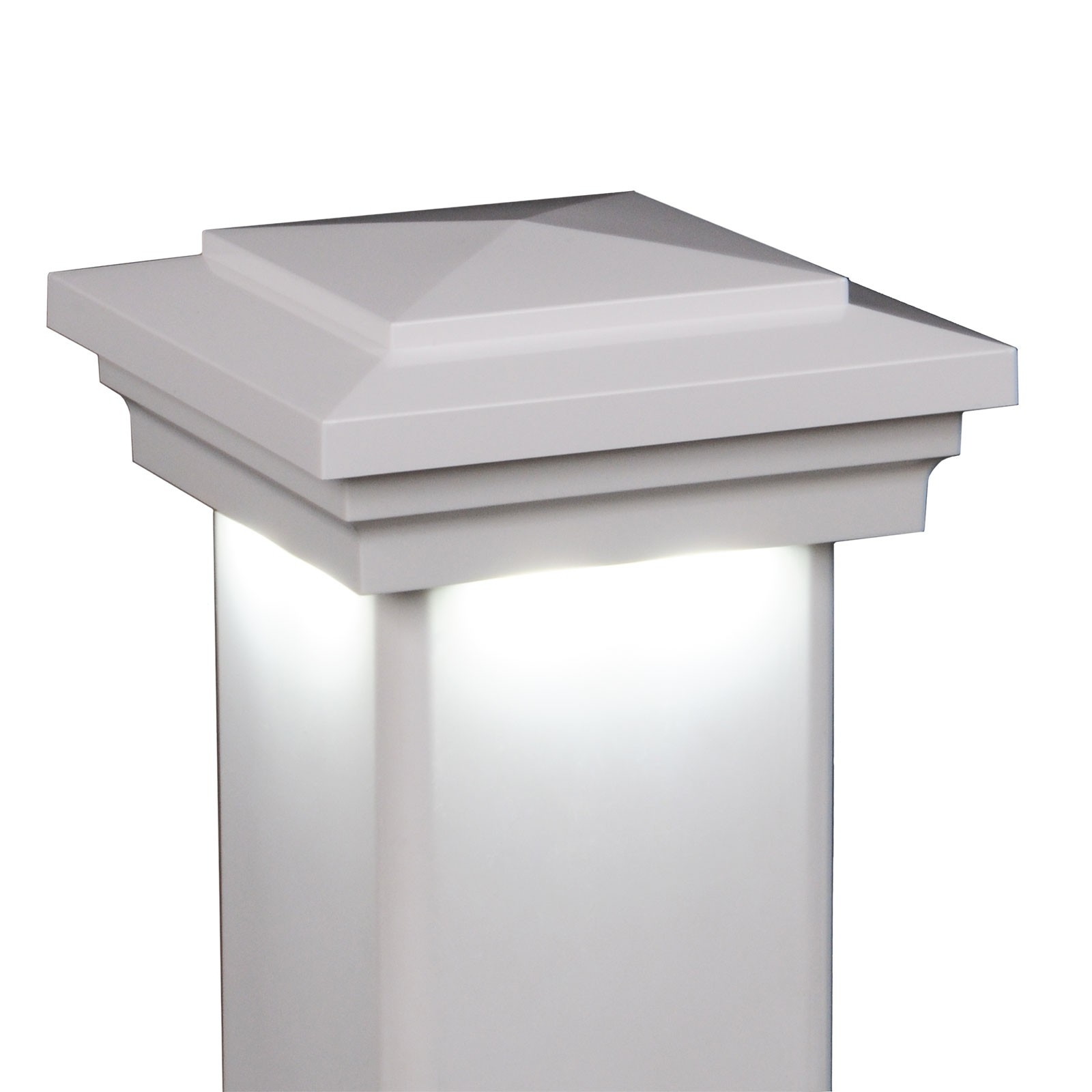 "5"" Sq. Cape May Downward Low Voltage Led Lighted Post Cap – White Intended For Most Up To Date Low Voltage Led Post Lights (Gallery 7 of 20)"
