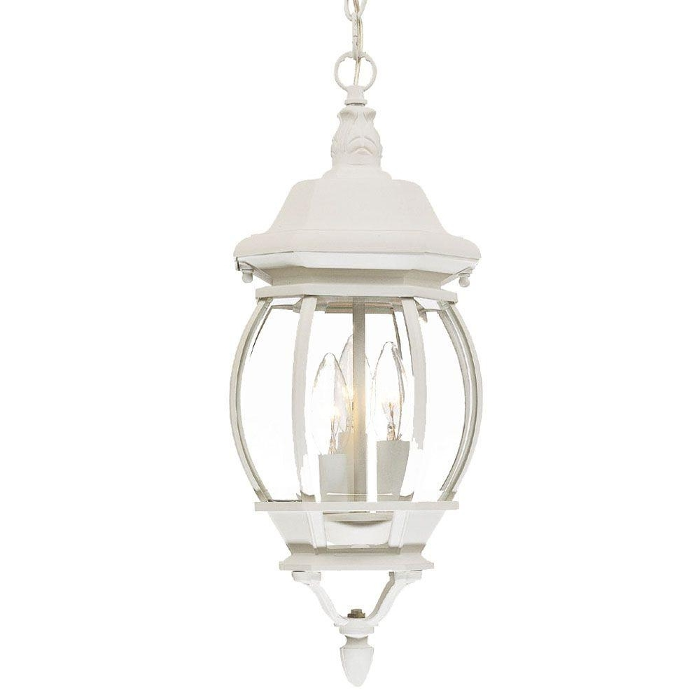 Acclaim Lighting Chateau Collection 3 Light Textured White Outdoor Inside Latest White Outdoor Hanging Lanterns (Gallery 1 of 20)