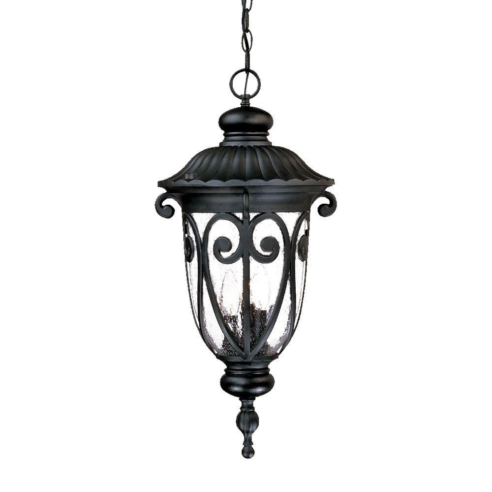 Acclaim Lighting Naples Collection 3 Light Matte Black Outdoor For Preferred Outdoor Hanging Decorative Lights (Gallery 6 of 20)