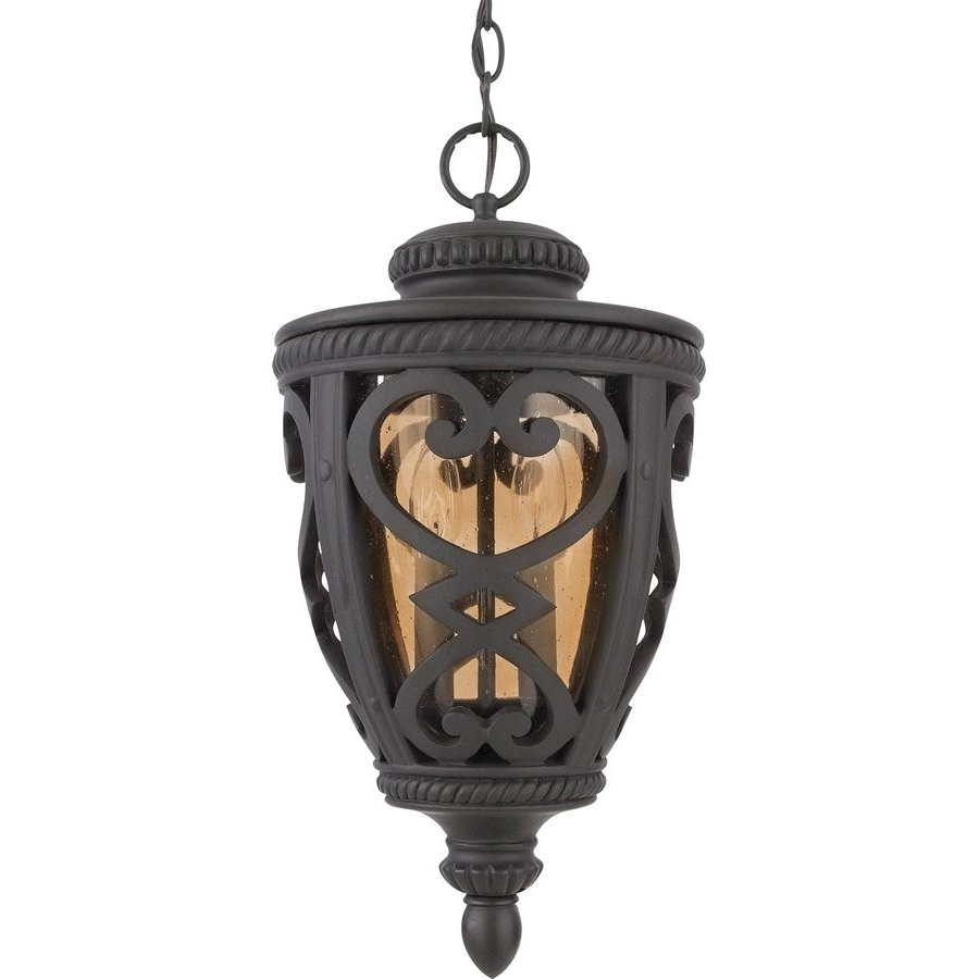 Allen + Roth Grandura 18.5 In Marcado Black Outdoor Pendant Light Inside Fashionable Outdoor Ceiling Lights At Lowes (Gallery 7 of 20)