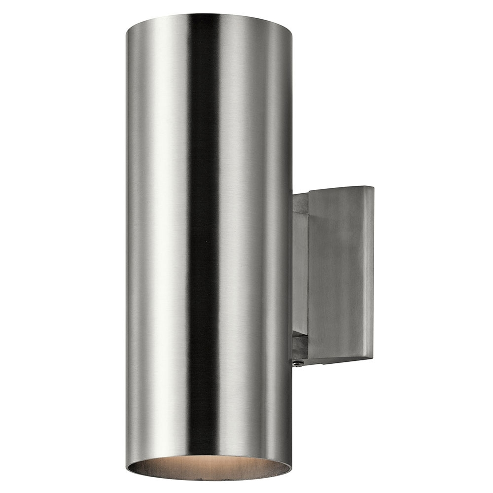Aluminum Outdoor Wall Lighting With Regard To Most Up To Date Kichler 9244Ba Modern Brushed Aluminum Exterior Light Sconce – Kic (View 8 of 20)