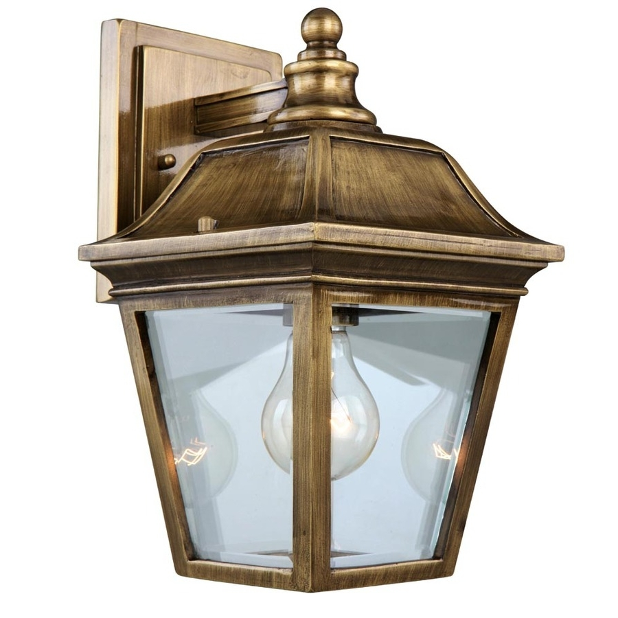 Antique Brass Outdoor Lighting Pertaining To Well Liked Shop Portfolio 12 In Antique Brass Outdoor Wall Light At Lowes (Gallery 1 of 20)