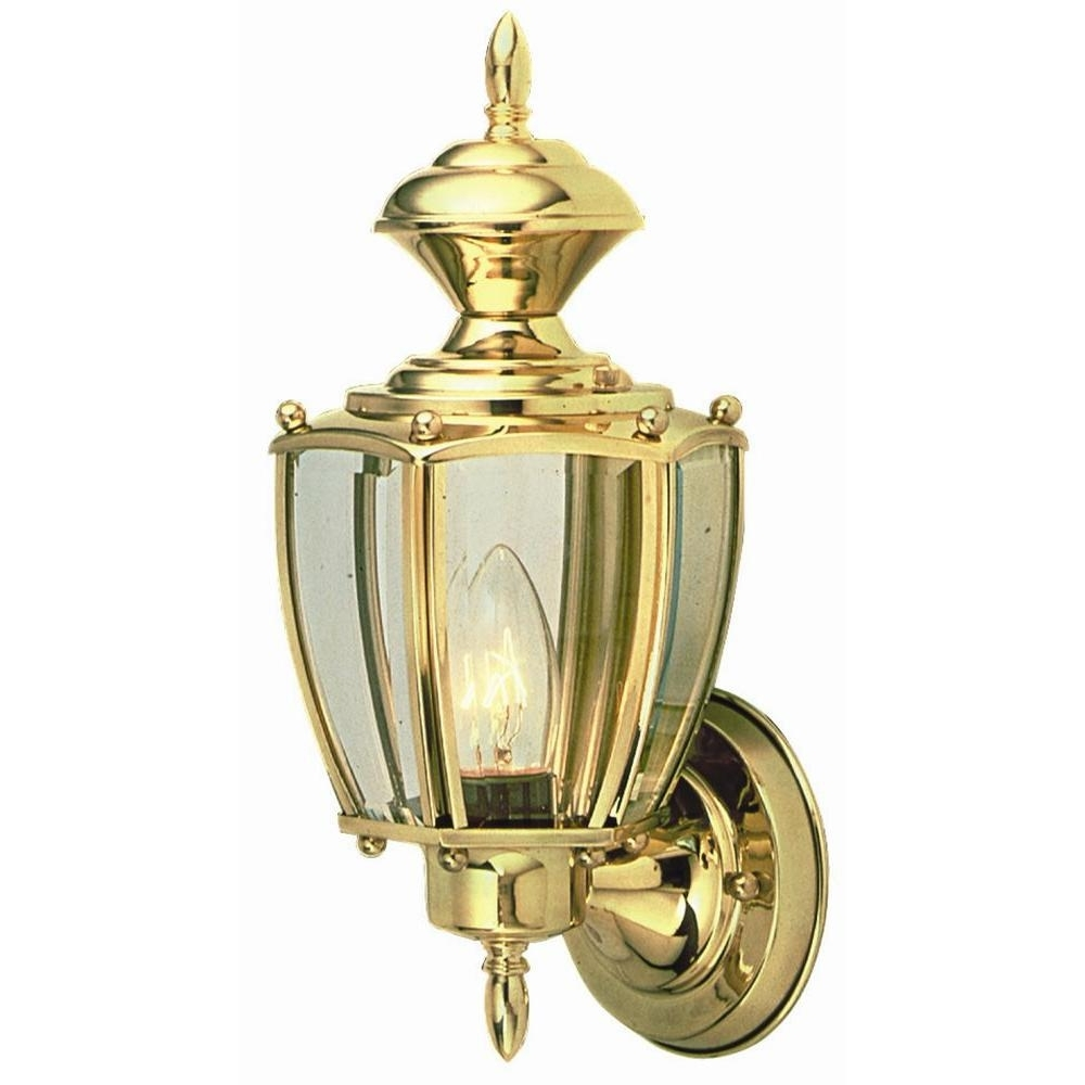 Antique Brass Outdoor Lighting With Regard To Fashionable Design House Jackson Solid Brass Outdoor Wall Mount Uplight 501486 (Gallery 12 of 20)