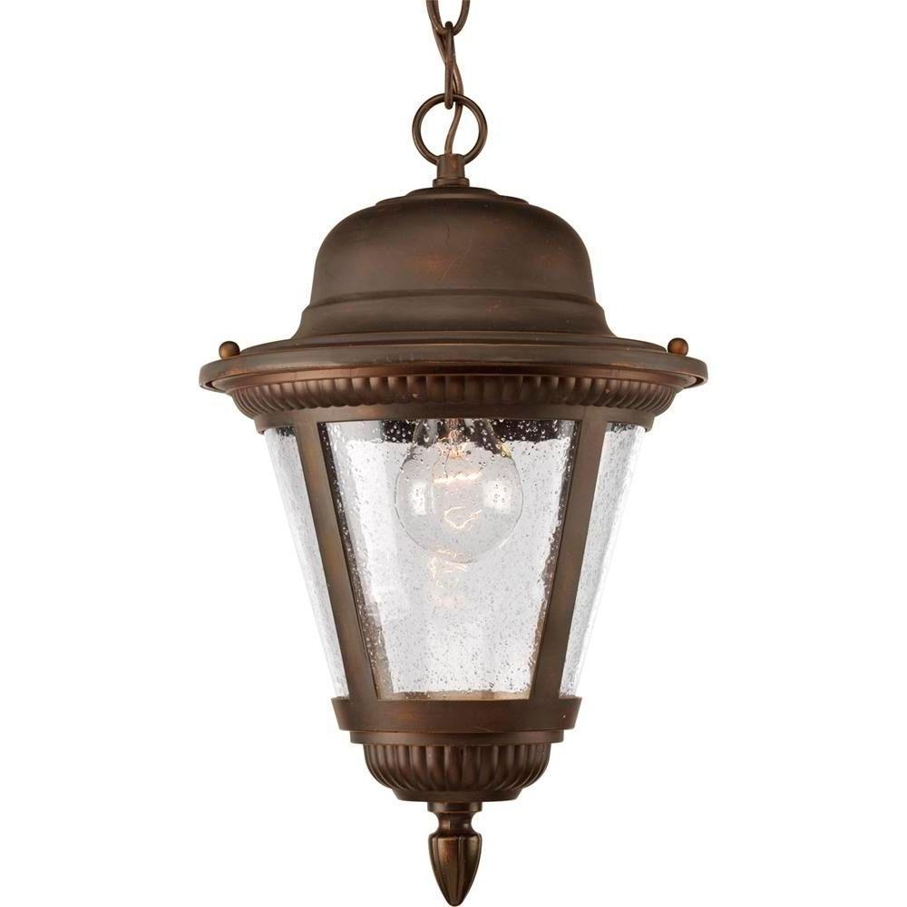 Antique Outdoor Hanging Lights For Preferred Progress Lighting Westport Collection 1 Light Antique Bronze Outdoor (View 4 of 20)