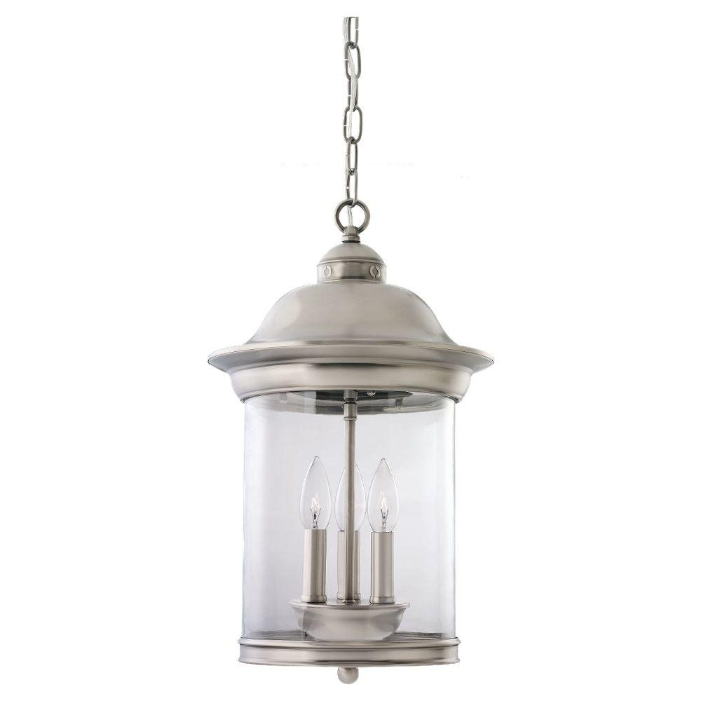Antique Outdoor Hanging Lights With Popular Sea Gull Lighting Hermitage 3 Light Antique Brushed Nickel Outdoor (View 9 of 20)