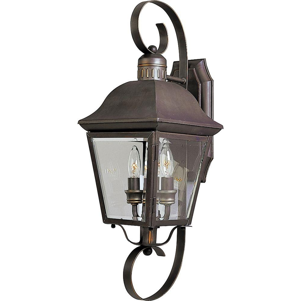 Antique Outdoor Wall Lights In Most Current Progress Lighting Andover Collection 2 Light Outdoor Antique Bronze (View 3 of 20)