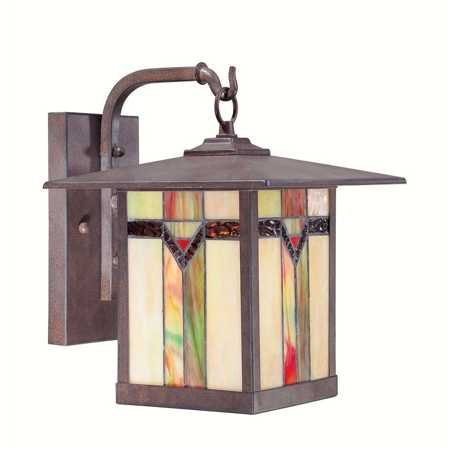 Arts And Crafts Outdoor Wall Lighting For Trendy Stained Glass And Bronze Hanging Outdoor Wall Lamp Tiffany Arts And (Gallery 14 of 20)
