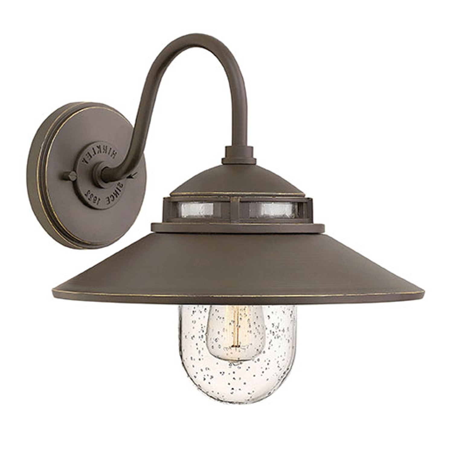 Atwell Oil Rubbed Bronze One Light Outdoor 12 Inch Small Wall Mount Regarding Preferred Double Wall Mount Hinkley Lighting (Gallery 17 of 20)