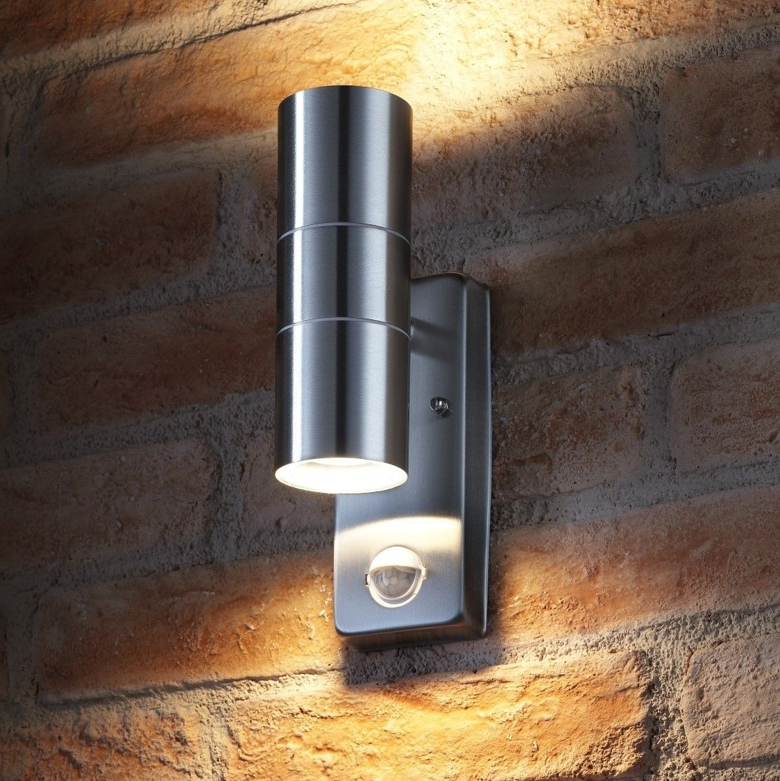 Auraglow Pir Motion Sensor Stainless Steel Up & Down Outdoor Wall For Most Up To Date Outdoor Led Wall Lights With Pir (View 12 of 20)