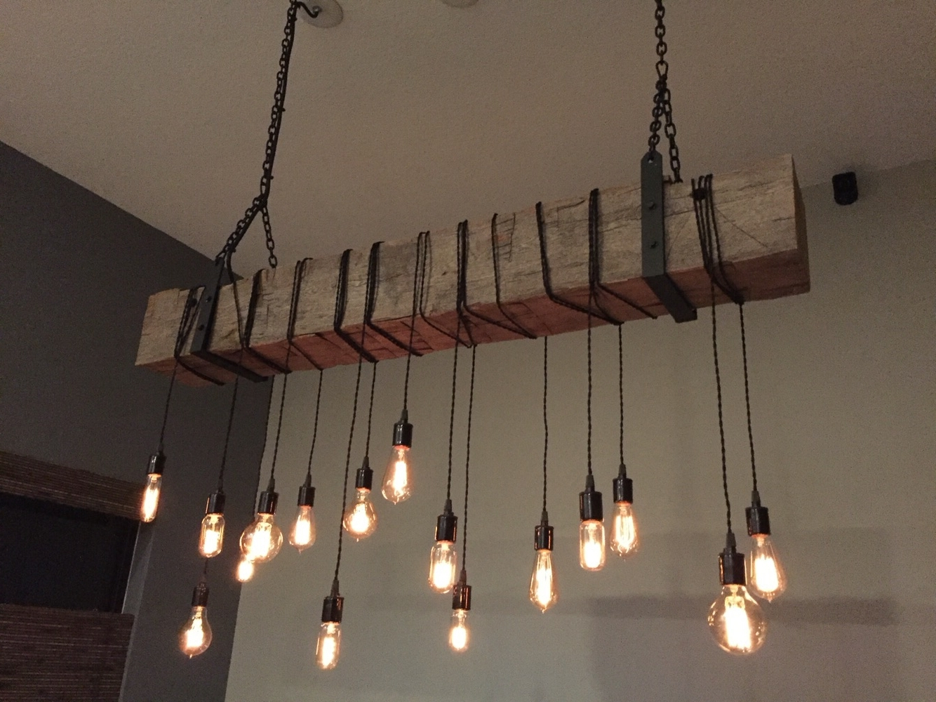 Barn Beam Chandelier/light Fixture With Wrapped Lights, Metal With Most Current Outdoor Hanging Bar Lights (Gallery 9 of 20)