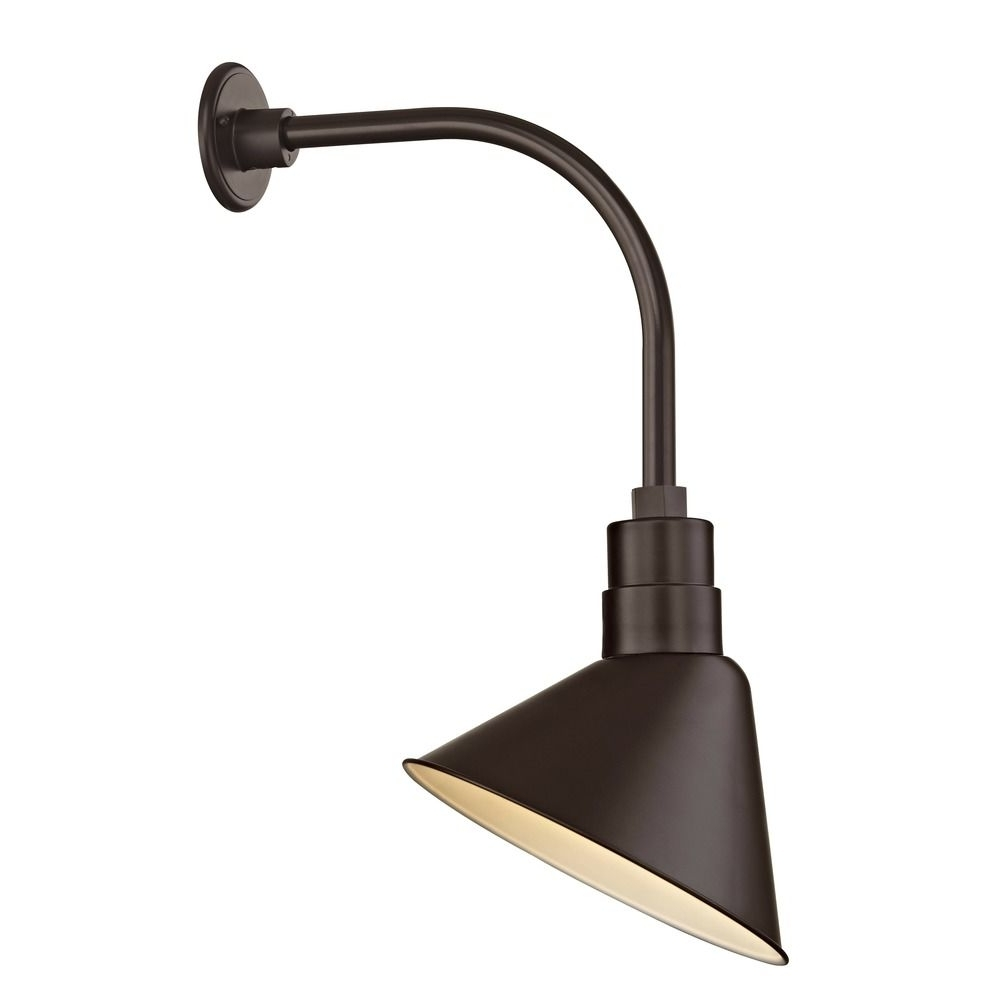 "Barn Light Outdoor Wall Light Bronze With Gooseneck Arm 12"" Scoop With Regard To Latest Outdoor Gooseneck Wall Lighting (View 1 of 20)"