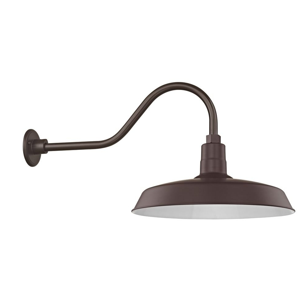 """Barn Light Outdoor Wall Light Bronze With Gooseneck Arm 18"""" Shade Throughout Recent Vintage Outdoor Wall Lights (Gallery 8 of 20)"""