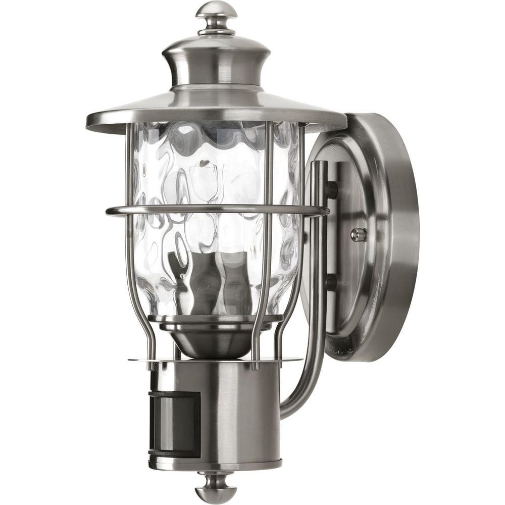 Beacon Outdoor Ceiling Lights Within Most Current Progress Lighting Beacon Collection 1 Light Stainless Steel Motion (View 8 of 20)