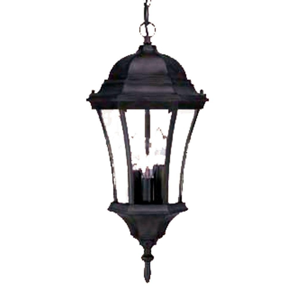 Best And Newest Acclaim Lighting Belle Collection 3 Light Matte Black Outdoor With Hanging Outdoor Sensor Lights (View 2 of 20)