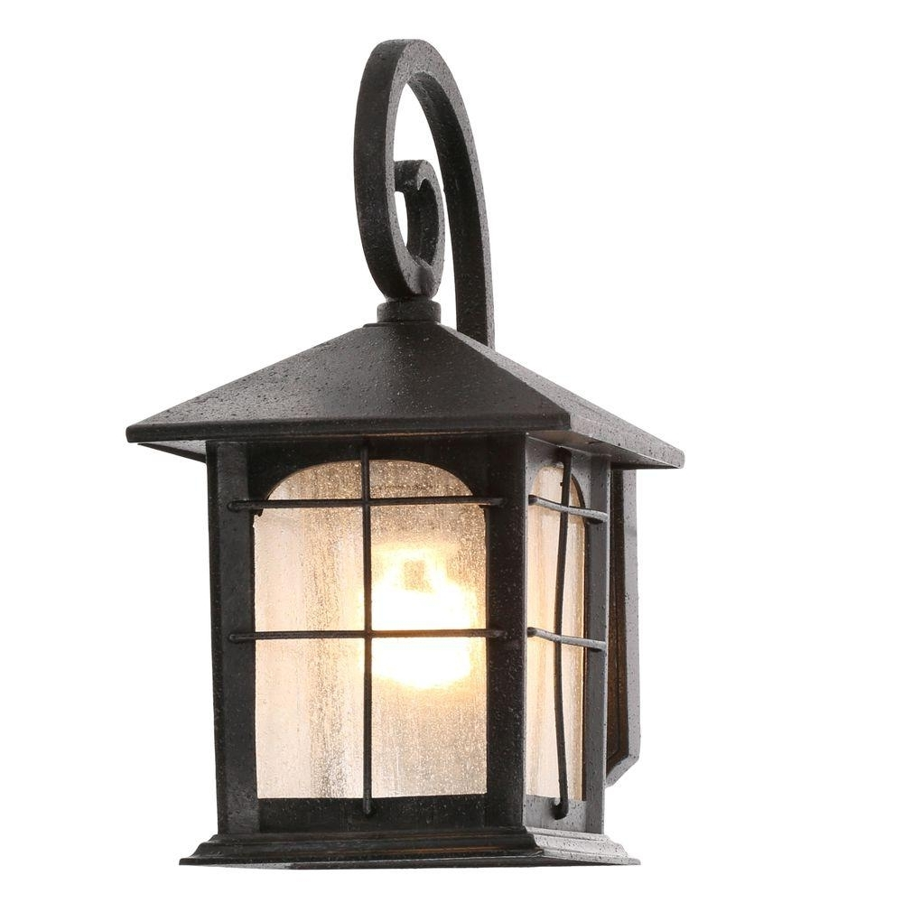 Best And Newest Battery Operated Outdoor Lights At Home Depot Regarding Home Decorators Collection Brimfield 1 Light Aged Iron Outdoor Wall (View 4 of 20)