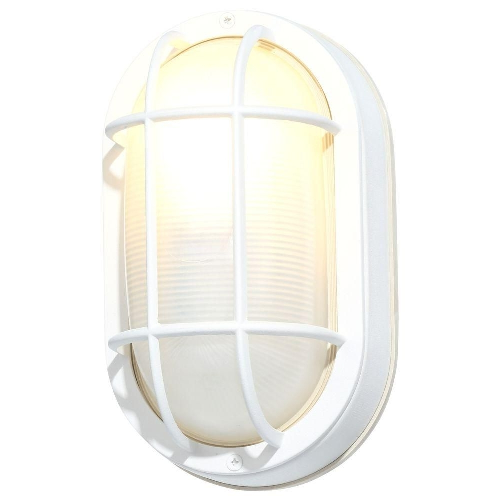 Best And Newest Hampton Bay White Outdoor Oval Bulkhead Wall Light Hb8822p 06 – The Pertaining To Outdoor Wall Lights In White (View 12 of 20)